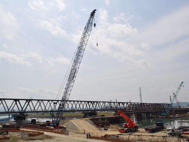 鉄道:KTR円山川橋梁掛け替え工事見学会 その2