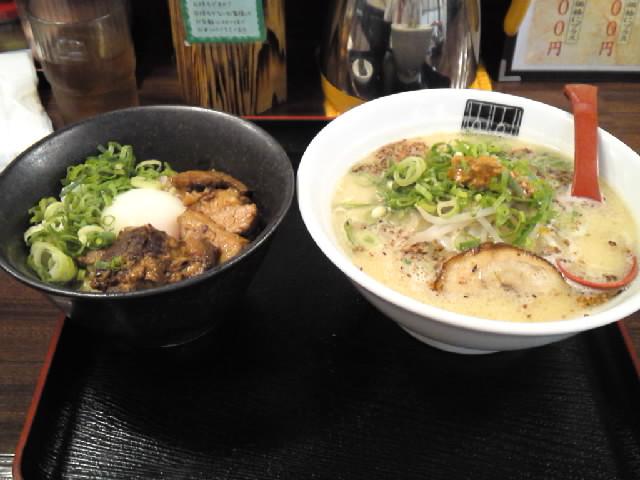 グルメ@今日のラーメニング 山神山人 西神中央店であっさりトンコツ&チャーシュー丼