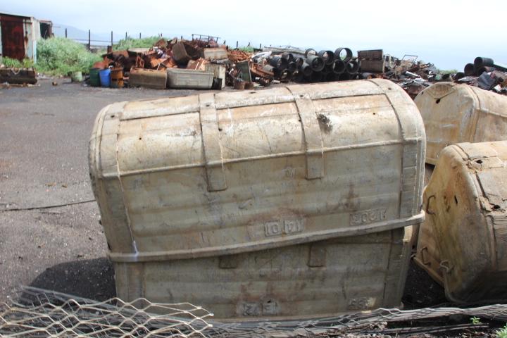 #Jheritage長崎産業遺産視察勉強会 アルミ合金(ジェラルミン)製の炭車(一台80万円!)が廃材容器代わりに