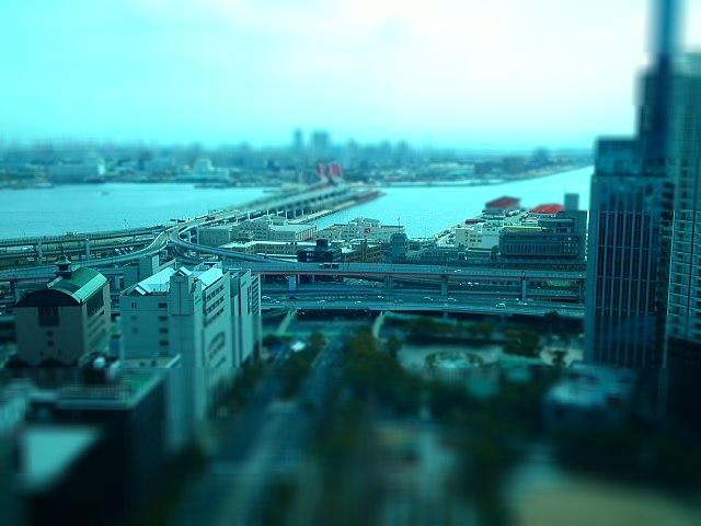 神戸大橋とジャンクションを携帯電話の写メでジオラマ風に撮影してみた